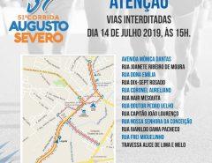 Macaíba: Interdição de ruas neste domingo em virtude da 51ª Corrida Augusto Severo