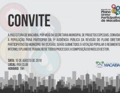 Convite: 1ª reunião da revisão do Plano Diretor Participativo de Macaíba