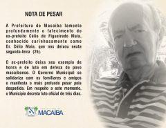 Prefeitura de Macaíba publica Nota de pesar sobre falecimento de ex-prefeito Célio Maia