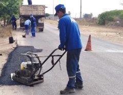 Em Macaíba, RN-160 recebe recuperação asfáltica