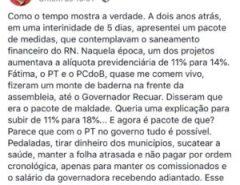 Desabafo de Fábio Dantas sobre as contradições do governo Fátima