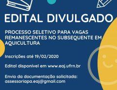 Atenção: Edital para vagas subsequentes de Aquicultura na EAJ/UFRN