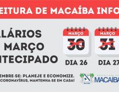 Prefeitura de Macaíba antecipa salários, mas alerta sobre situação futura
