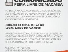 Macaíba: Comunicado sobre a Feira Livre de sábado (11/04)