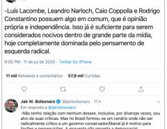 """Opressora: """"Esquerda não respeita a democracia"""", diz Bolsonaro ao defender comentaristas"""