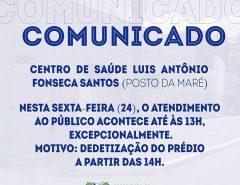 Comunicado do Posto da Maré de Macaíba sobre expediente desta sexta (24)