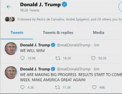 """Trump fala em """"grande progresso"""", e que os resultados das eleições nos EUA começarão a ser divulgados na próxima semana: """"Nós vamos vencer"""""""