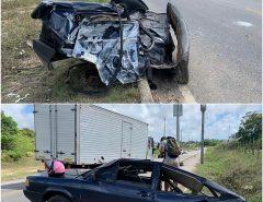 São Gonçalo do Amarante: Após tomarem carro de assalto bandidos batem carro em poste que fica dividido ao meio