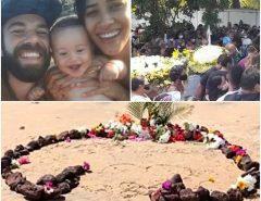 Lágrimas e muita tristeza no enterro da corpos da família que morreu soterrada em Pipa