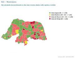 VEJA O MAPA: 87 municípios do RN têm taxa de transmissão da Covid-19 em zonas de 'risco' ou 'perigo'