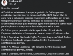 Rei da Contradição: Prefeito manda limpar colégios e manda ônibus para o ENEM, mas cancela concurso colocando a culpa no coronavírus