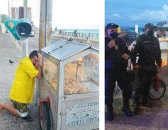 Após foto de pipoqueiro chorando em praia de Natal viralizar, policiais arrecadam doações para o ambulante