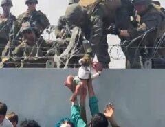 Imagem de bebê entregue a um soldado no muro do aeroporto de Cabul, em meio aos arames farpados, choca, emociona e viraliza