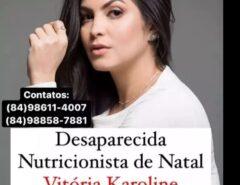 Desespero: Nutricionista está desaparecida em Natal desde a tarde dessa terça-feira