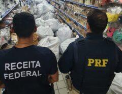 PRF e Receita Federal fazem apreensão de produtos em 15 lojas do Alecrim